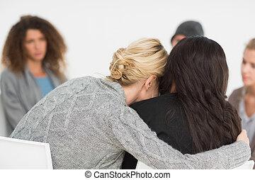 grupa, obejmowanie, kobiety, terapia, rehab