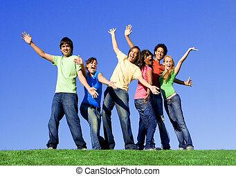 grupa, prąd, mieszany, nastolatki