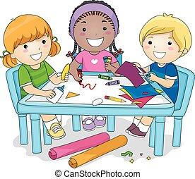 grupa, projekt, sztuka, dzieciaki