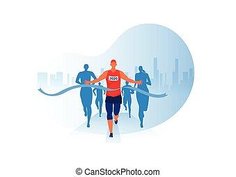 grupa, projektować, wektor, odzież, lekkoatletyka, tło, maraton, prąd, atletyka, wyścigi, ludzie, wypadek, jogging, miasto