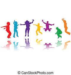 grupa, ręka, sylwetka, skokowy, pociągnięty, dzieci