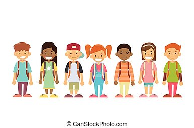 grupa, reputacja, dzieci, kreska, szkoła