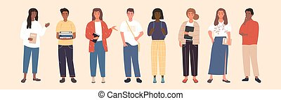 grupa, reputacja, kreska, multicultural, studenci