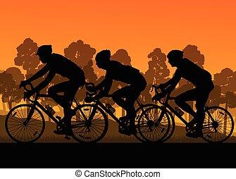 grupa, rowerzysta, ilustracja, wektor, maraton, tło, jeżdżenie rower, sylwetka, krajobraz