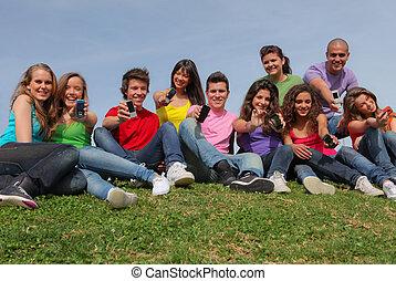 grupa, ruchomy, pokaz, komórka głoska, prąd, telefony, mieszany, albo