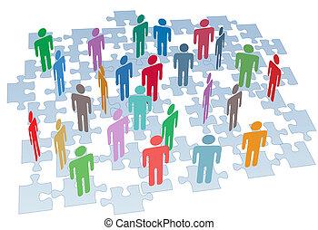 grupa, sieć, intrygować kawały, połączenie, ludzkie zasoby