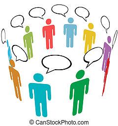 grupa, sieć, ludzie, media, symbol, kolor, towarzyski, rozmowa