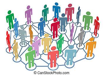 grupa, sieć, ludzie, media, towarzyski, dużo, rozmowa