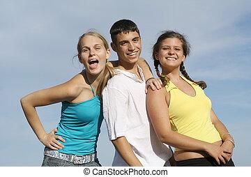 grupa, studenci, prąd, wiek dojrzewania, mieszany, dzieciaki, albo