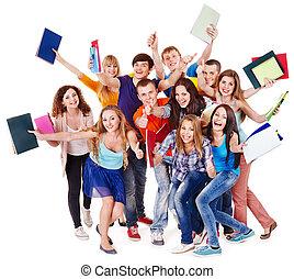 grupa, student, notebook.