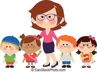 grupa, students., ilustracja, dzieci, wektor, nauczyciel