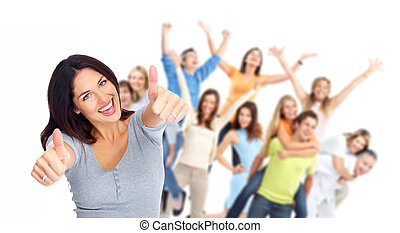 grupa, szczęśliwy, portrait., młodzież