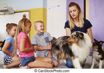 grupa, terapia, posiadanie, podczas, zabawa, pies, dzieci