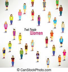 grupa, zbierać, wielki, wektor, projektować, kobiety