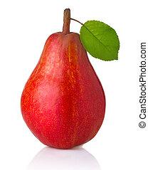 gruszka, liście, owoc, odizolowany, dojrzały, zielony czerwony