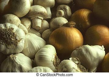 grzyby, stos, cebule, czosnek