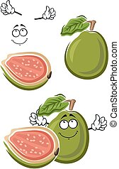 guava, owoc, zielony, rysunek, dojrzały