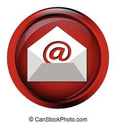 guzik, ikona, email, znak