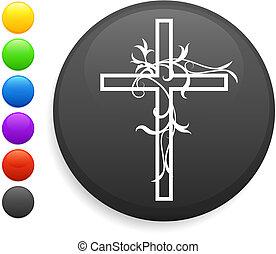 guzik, ikona, okrągły, krzyż, internet