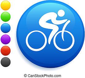 guzik, ikona, okrągły, rowerzysta, internet