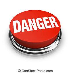 guzik, -, niebezpieczeństwo, słowo, czuć się, okrągły, ostrożność, czerwony, korzystać, alarm