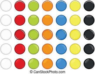 guzik, połyskujący, barwny, okrągły