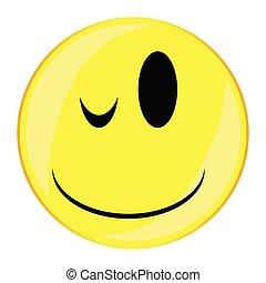 guzik, uśmiech, twarz, mrugnięcie, odizolowany