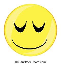 guzik, uśmiech, twarz, odizolowany, senny
