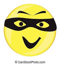 guzik, uśmiech, twarz, odizolowany, złodziej