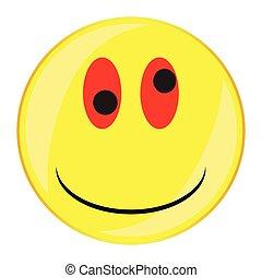 guzik, uśmiech, twarz, pijacki, odizolowany
