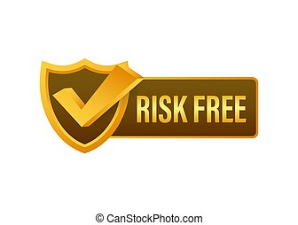gwarantować, tło., wektor, biały, illustration., etykieta, ryzyko, wolny