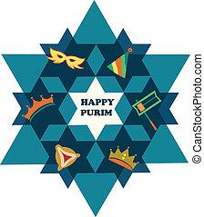 gwiazda, żydowski, purim., dawid, obiekty, święto, szczęśliwy