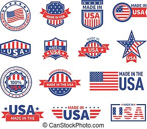 gwiazda, bandera, stamp., labels., albo, skuwki, wektor, symbolika, znak, robiony, symbole, patriotyczny, usa, ameryka, logo, odizolowany, amerykanka, komplet, design.