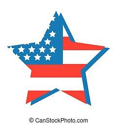 gwiazda, ikona, płaski, bandera, styl, usa
