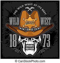 gwiazda, kapelusz, szeryfowie, kowboj, czaszka