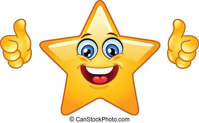 gwiazda, kciuki do góry