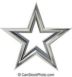 gwiazda, srebro, 3d