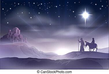 gwiazdkowy nativity, józef, mary