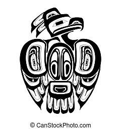 haida, tattoo., style., thunderbird, ozdoba