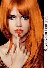 haircut., fringe., hair., wzór, woman., szykowny, hairstyle., zdrowy, długi, secret., piękny