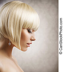 haircut., fryzura, dziewczyna, hair., zdrowy, blond, krótki, piękny