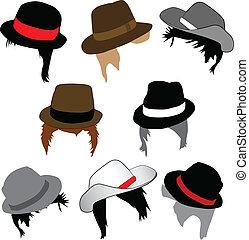 hairstyles, kapelusze, fason, -, samiec