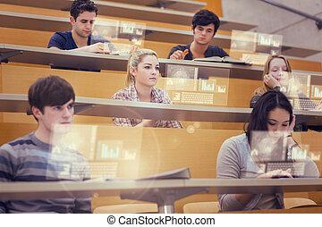 hala, studenci, ich, wykład, pracujący, skoncentrowany, przyszłość