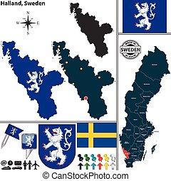 halland, mapa, szwecja