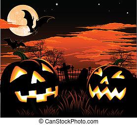 halloween, cmentarz, tło
