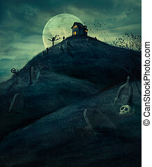 halloween, cmentarz