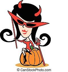 halloween, dziewczyna, sztuka, kostium, zacisk