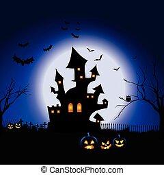 halloween, krajobraz, spooky