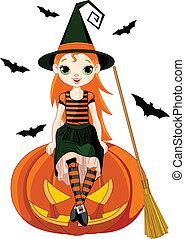 halloween, mały, czarownica, dynia