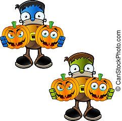 halloween, -, potwór, dzierżawa, dynia